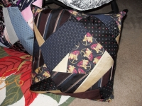 Crazy quilt tie Pillows  $40 custom design fee - You supply ties, backing & pillow form.